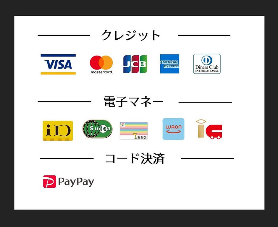 VISAカード / JCB / MasterCard / American Express / UCカード / Diners Club